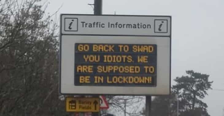 Hacked road sign talks back after driver complains to council