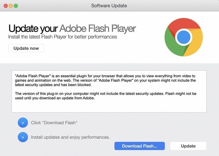 Fake flash update